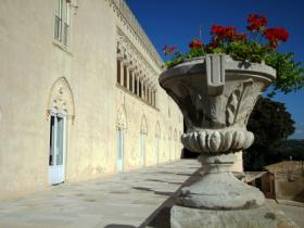the balcony with flowers of Donnafugata Castle